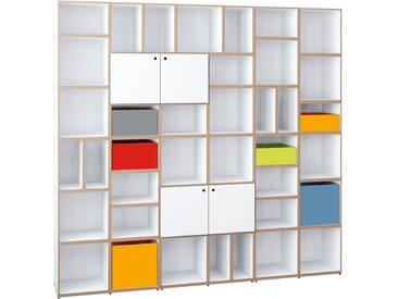 Design Bücherregal, weiß, bunt, MDF, modular, 214x36x205cm, stocubo
