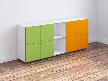 Kommode, weiß mit Türen in grünen & orange, MDF, modular, 178x36x73cm, stocubo