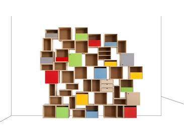 Ausgefallenes designer Wohnregal, MDF, modular, 275x36x250cm, stocubo