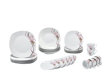 KHG Kombiservice 30-tlg.  Orchidee - weiß - Porzellan - Sconto
