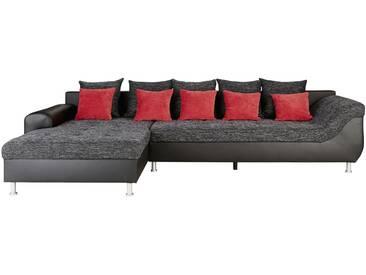 Polsterecke Schwarz/rot - grau - 323 cm - 90 cm - 199 cm - Sconto