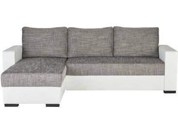 Polsterecke Weiß/grau - grau - 156 cm - 83 cm - 237 cm - Sconto