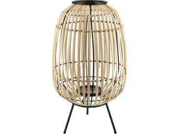 Windlicht - holzfarben - Bambus, Metall, Glas - 45 cm - Sconto