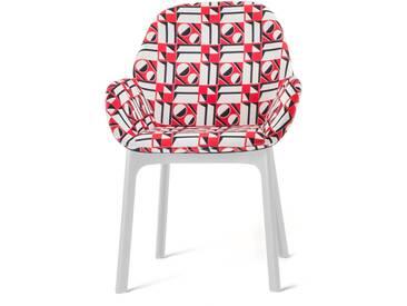 Kartell - Clap Stuhl 4182, weiß / geometrico rosso