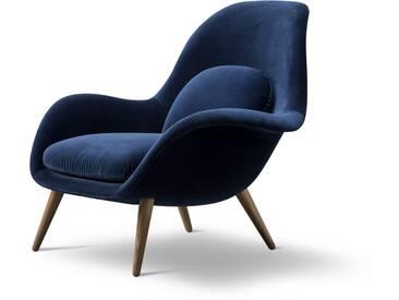 Fredericia Furniture Fredericia - Swoon Sessel, Eiche geräuchert / dunkelblau (Harald 3 / 772)