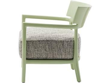 Kartell - Cara Sessel, Gestell blassgrün / Bezug grün-schwarz