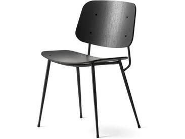 Fredericia Furniture Fredericia - Søborg Stuhl (Model 3060), Eiche schwarz lackiert / Untergestell Stahl schwarz