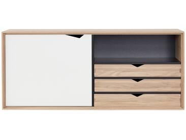 Andersen Furniture - S2 Hängemodul mit Tür und 3 Schubkästen, Eiche geseift / Laminat weiß