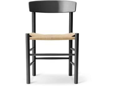 Fredericia Furniture Fredericia - J39 Mogensen Stuhl, Eiche schwarz lackiert / Schnurgeflecht Natur