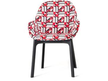 Kartell - Clap Stuhl 4182, schwarz / geometrico rosso
