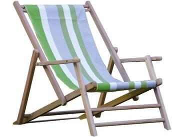 Jan Kurtz - Maxx Deckchair Teakholz, Bezug Designers Guild Streifen Tarifa Leaf