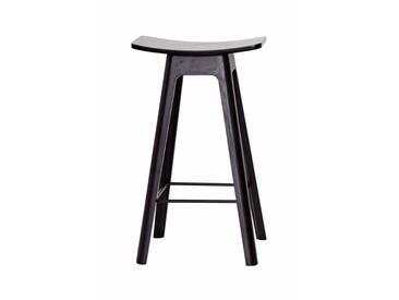 Andersen Furniture - HC1 Barhocker H 67 cm, Untergestell schwarz / Furniersitz schwarz / Fußstütze schwarz