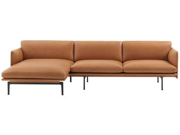 Muuto - Outline 3er Ecksofa links, cognac Silk Leather / schwarz (RAL 9017)