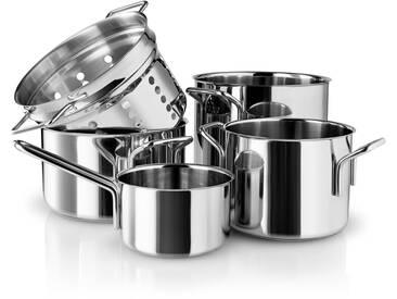 Eva Solo Eva Trio - Stainless Steel Topfset Pasta (5-tlg.) Stielkasserolle 1.1 l / Kochtopf 2.2 l / Kochtopf 3.6 l / Kochtopf 4.8 l / Pasta Sieb