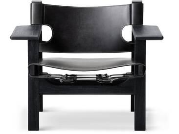 Fredericia Furniture Fredericia - Spanish Chair, Eiche schwarz lackiert / Leder schwarz
