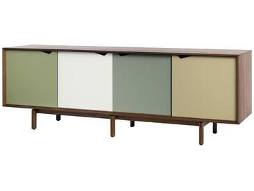 Andersen Furniture - S1 Sideboard, Walnuss geölt/ Türen Pale Olive (blassgrün), Alpino (weiß), Ocean Grey (schilfgrün), Doeskin (beige)