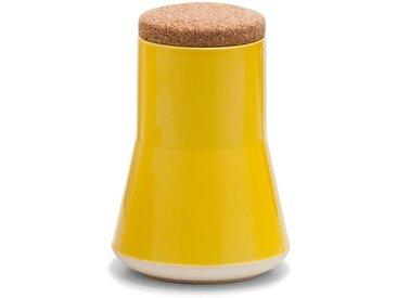 Established & Sons- Store Keramikbehälter mit Deckel H 21 cm, gloss yellow / matt white