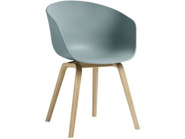 Hay AAC22 Stuhl Mit Geseiftem Untergestell, Sitzschale Dusty Blue