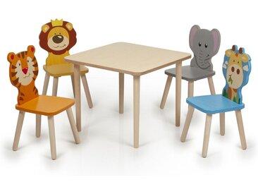 Kindersitzgruppe Holz Tiere Kindertisch und Stühle Tisch Kinder K