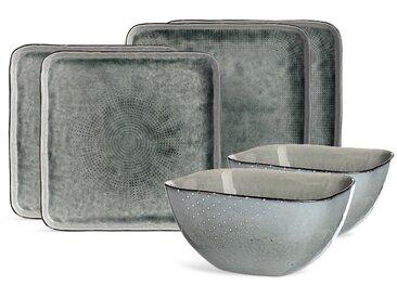 Geschirrset Steingut, 6-teilig, grau-grün