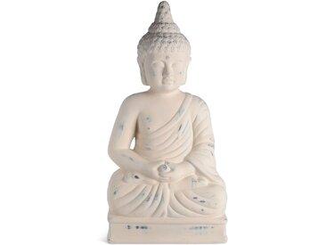 Dekofigur Buddha, L:30xB:18xH:5cm, offweiß