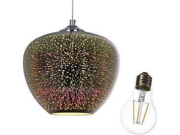 Set Hängeleuchte mit Glühbirne, 2-teilig, silber