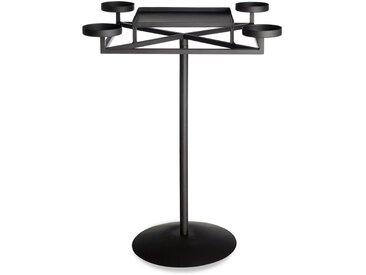 Adventskerzenhalter mit 4 Tüllen auf Fuß, H:54cm, schwarz