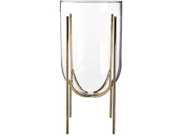 Vase mit Gestell, D:15cm x H:31cm, gold
