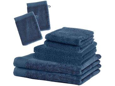 Set Handtücher und Waschhandschuh, mittelblau, 8tlg