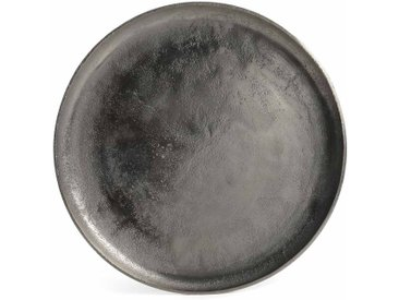 Dekotablett Metall, D:34,5cm, silber