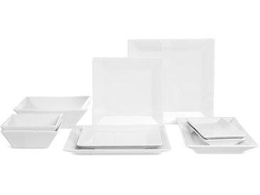 Geschirrset Square Tafelservice, 2 Personen, 10-teilig, weiß