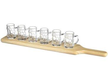 Schnapsglas-Set mit Servierbrett, 7-teilig, klar