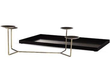 Basic Set Adventskranztablett mit Kerzenhalter, 2-teilig, schwarz