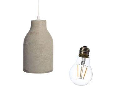 Set Hängeleuchte mit Glühbirne, 2-teilig, grau