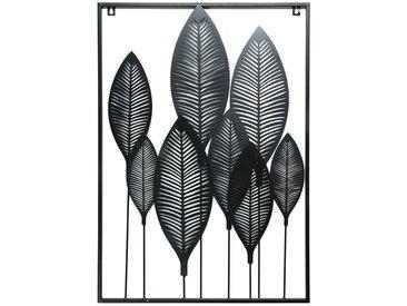 Wandobjekt Blätter, L:78cm x B:50cm, schwarz