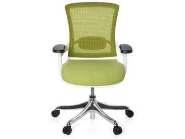 Bürostuhl SKATE STYLE Sitz Stoff grün / Rücken Netz grün / Rahmen weiß hjh OFFICE