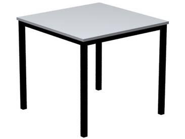 Konferenztisch mit Vierkant-Rohr schwarz DORAN 80 x 80cm Grau