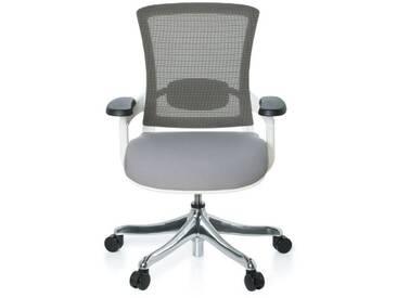 Bürostuhl SKATE STYLE Sitz Stoff grau / Rücken Netz grau / Rahmen weiß hjh OFFICE