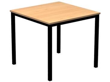 Konferenztisch mit Vierkant-Rohr schwarz DORAN 80 x 80cm Buche