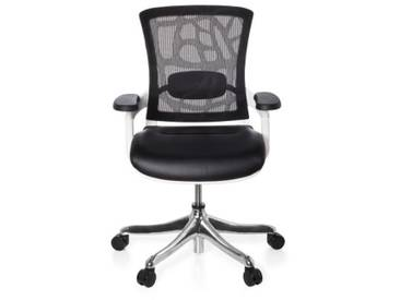 Bürostuhl  / Chefsessel SKATE PLUS Sitz Feinleder / Rücken Netz schwarz / Rahmen weiß hjh OFFICE