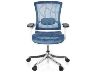 Bürostuhl SKATE STYLE Sitz und Rücken Netz Design blau / Rahmen weiß hjh OFFICE