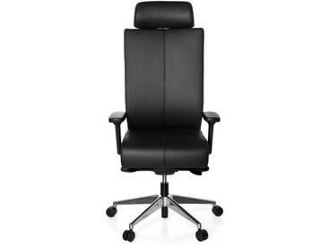 Bürostuhl / Drehstuhl PRO-TEC XXL Leder schwarz hjh OFFICE