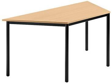 Konferenztisch mit Rund-Rohr schwarz DORAN 160 x 69cm Buche
