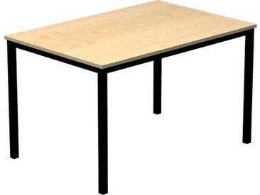 Konferenztisch mit Vierkant-Rohr schwarz DORAN 120 x 80cm Ahorn