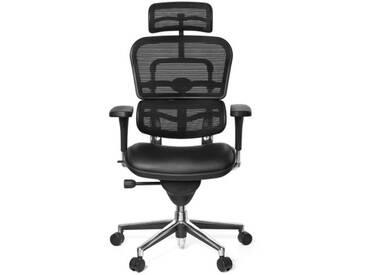 Bürostuhl / Chefsessel ERGOHUMAN BASE ONE Sitz Leder/Rücken Netz schwarz hjh OFFICE
