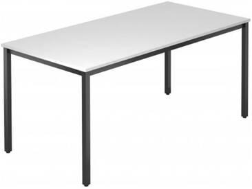 Konferenztisch mit Vierkant-Rohr schwarz DORAN 160 x 80cm Weiß