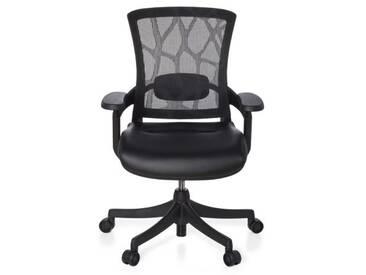 Bürostuhl SKATE BASE Sitz Leder/Rücken Design Netz schwarz / Rahmen schwarz hjh OFFICE