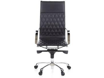 Bürostuhl / Chefsessel MODENA Nappaleder schwarz Chrom hjh OFFICE