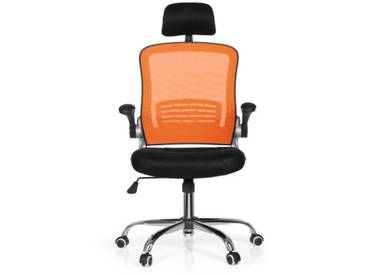 Bürostuhl / Drehstuhl VENDO NET Stoff schwarz/orange Schreibtischstuhl hjh OFFICE