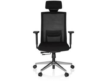 Bürostuhl / Chefsessel CAPTIVA Sitz Stoff / Rücken Netz schwarz / schwarz hjh OFFICE